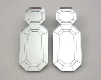 Silver Gem Drop Statement Earrings - silver earrings, Jewel earrings, Emerald earrings, laser cut earrings, perspex earrings, modern earring