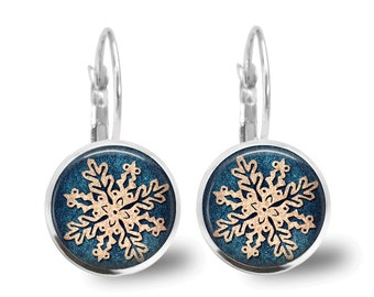 Christmas Earrings Snowflake Earrings Christmas Jewelry Snowflake Earrings Holiday Jewelry Tile Earrings Snowflake Jewelry Beaded Jewelry