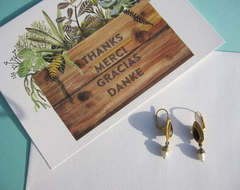 Greek style Gold plated Earrings with Sweet Water Pearl accent