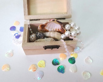 Mermaid Treasure Chest, Treasure chest play, Shells Pearls treasure collection, Mermaid collection