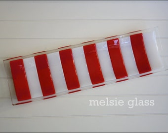 Candy Cane Tray, Cookies for Santa glass tray, red and white stripes