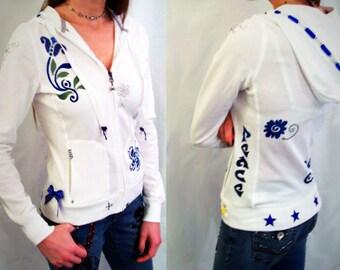 White & Blue Flowered Custom Hoodie