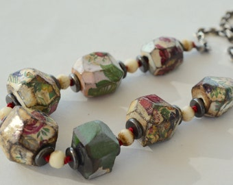 Flower Nugget Bead Necklace, Ceramic Art Beads, Sterling Silver Sequin Chain, Hand Formed Beads, Chunky Clay Flower Bead Necklace