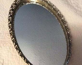 "20% OFF SALE 1960s Vintage 13.5"" Large Gold Plated 24Kt Filigree Dresser Mirror Vanity Tray Ormolu Footed"