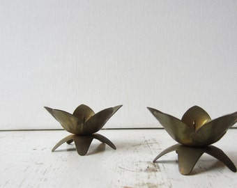 Pair Vintage Brass Lotus Flower Candle Holders - West Germany - Mall