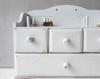 Vintage Sewing Cabinet - Jewelry Storage - Wall Mount or Freestanding - White Distressed - Japan