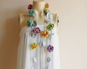 Pastel scarf-Rose Scarf-Necklace Lariat Scarf- Rose Crochet Scarf-Multicolor Roses with Light Gray Leaves-Pastel Rose Scarf-Vegan Scarf