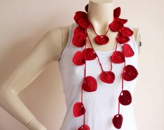 heart scarf red heart scarf heart lariat scarf valentine scarf lariat necklace