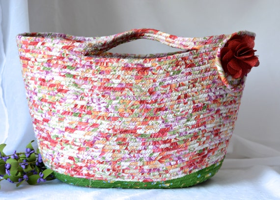 Fall Tote Bag, Handmade Picnic Basket, Pretty Moses Basket, Lovely Storage Organizer, Tote Bag,  Purse, Beach Bag