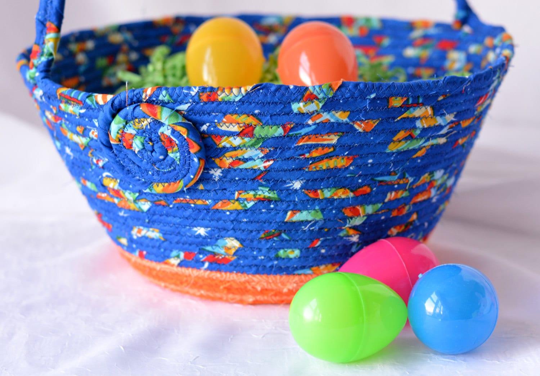 Blue easter basket handmade easter bucket lego storage - Custom made easter baskets ...