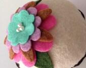 Felt Flower Cupcake (Pink/Mint) - Home Decor, Gifts, Pin Cushion, Birthday Gift, Bridal/Baby Shower, Room Decor