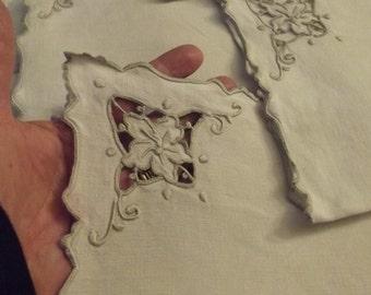 Eight Heirloom Vintage Cut Work Off-White Linen Napkins