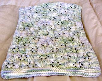 "Green Flannel baby-toddler blanket 28""x39"""