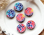 NEW Unique 3D Embossed flower 16mm Round Handmade Wood Cut Cabochon  -(WG-MIXSS)