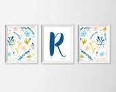 Personalized Watercolor Art Prints, Set of 3 Letter Wall Decor Flower Art, Nursery Art Girl Flower Personalized, Living Room Wall Decor Art