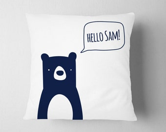 Personalized Pillow Zoo Woodland Nursery, Boy Room Bear Forest Decor, Zoo Name Pillow, Navy Kids Pillow Decor, Boy Nursery Navy , Name Decor