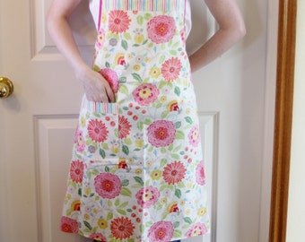 Full Butcher Apron with Bright Pink Flowers - Women's Full Apron, Cooking Apron, Woman's Apron, Simple Apron