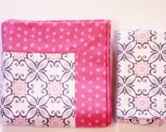 Double Flannel Receiving Blanket in Pink and Gray Print with Pink Back plus FREE burp cloth, Baby Blanket, Flannel Blanket, Infant Blanket