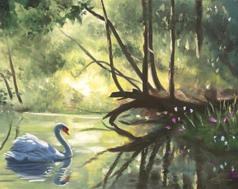 Mute Swan 11 x 17 print (image 10.5 x 16) personally signed by artist RUSTY RUST / S-92-P