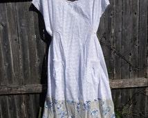 Prairie Dress - White Eyelet with Gauze Asian Theme Print on Bottom