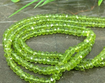 Natural Peridot 5-5.5mm Faceted Rondelle Gemstone Beads / Approx 115 pieces on 14 Inch long strand / JBC-ET-BPRI028