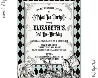 Classic Alice in Wonderland Printable Invitation, Mad Tea Party Invitation, Birthday, Baby Shower, Bridal Shower, Print Your Own