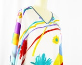 Vintage Mary McFaddin Caftan 1980s Floral Kaftan Bright Graphic Design Thin Silky Polyester One Size Large Loungewear