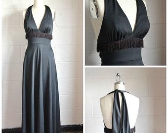 1970s Black Halter Dress with Fringe Maxi Halter Dress Size Medium Black Polyester Mod Halter Dress