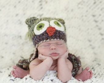 MEMORIAL DAY SALE Baby Owl Hat -  Newborn Owl Hat - Green Owl Baby Hat - Two Toned Owl Hat -  Photography Prop - By JoJo'sBootique