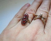 Antique Victorian 9K Rose Gold and Bohemian Garnet Knuckle Ring, Sz 6