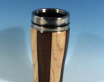 Hickory and MadagascarRosewood Wooden Travel Mug With Stainless Steal Interior