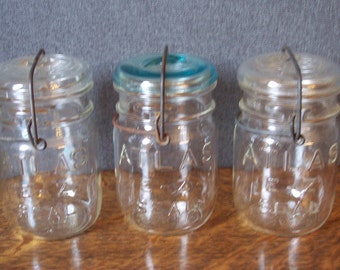 Vintage Trio of Atlas EZ Seal Canning Jars