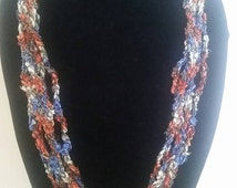 Red, White and Blue, MultiStrand, Hand Crochet, Lightweight Necklace, Trellis Necklace, Ladder Ribbon Yarn, Ribbon Necklace, Fiber Necklace