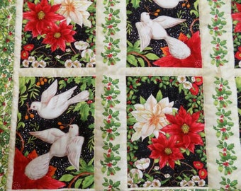 Dove Poinsettia Lap Quilt, Christmas, red green black white