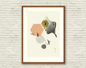 EX MACHINA - Ava Poster, 20 x 28 Handprinted Silkscreen Art Print, MidCentury Modern, Collage, Shapes, Coral, Gold, Vintage, Hipster, London