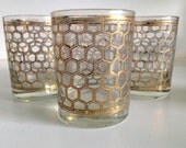 Georges Briard Gold Honeycomb Design Glassware