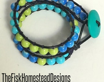 Leather Wrap Bracelet - Blue