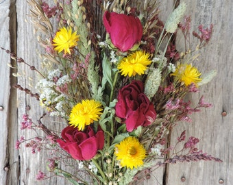 Dried Flower Bouquet Floral Arrangement Peonies Wildflowers Yellow StrawFlowers Peony Phalaris Natural Grasses Free Lavender Sachet