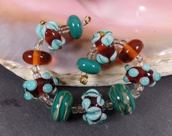 Lampwork Glass Beads Set Floral, Teal Amber Topaz Petroleum, jewelry supplies