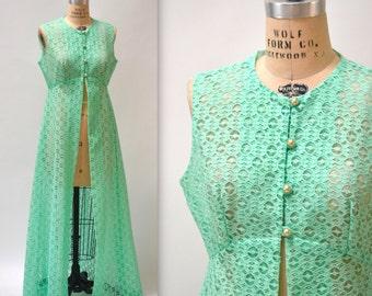 70s Vintage Long Lace Vest Size Large Sea foam Green// Green 70s Vintage Long Festival Vest Pastel Green Size Large Xl
