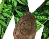 CUSTOM ORDER Marijuana Leaf Suspenders Bowtie Pocket Square // Mens Suspenders // Durian and the Lyon