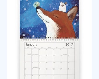 Whimsical Art Wall Calendar, Art by Andrea Doss, Kids Wall Art, 2017 Calendar, Wall Calendar, Cute Animals, Stocking Stuffer Idea