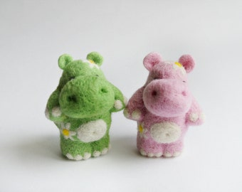 Green needle felted hippo
