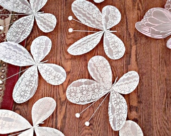 "13 WHITE LACE BUTTERFLIES handmade 9 1/2"" large decorations"