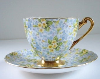Vintage Shelley Tea Cup and Saucer, Shelley China Primrose Chintz Teacup and Saucer, Vintage Floral Chintz Teacup Set  SwirlingOrange11