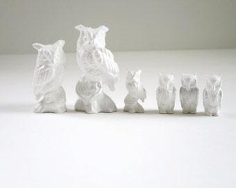 White Owl Figurines, Six 6 Owls, Miniature Mini Kawaii Owls, Kawaii Halloween Owls, Crafts Diorama Putz Glitter House Owls, White Halloween