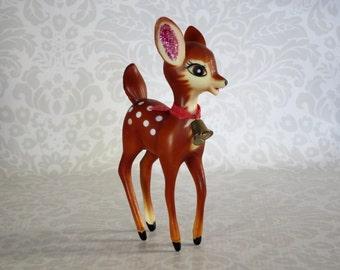 Kitsch 1950s Deer Reindeer Figurine  /  Vintage Hong Kong Plastic Deer, Bambi, Fawn  /   Retro Fawn Deer Reindeer  by SwirlingOrange11