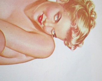 "Vintage Playboy Vargas Girl Vintage Pinup Blonde ""Then the Patient in Room 12 "" Nude Art, Alberto Vargas Nude, Magazine Illustration"