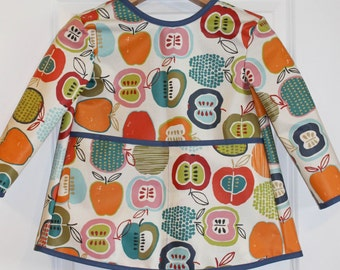 Extra Long Childrens Long Sleeved Art Smock Waterproof Apron with Big Apples