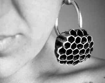 Honeycomb Earrings Silver - Hanging Weights -Gauged Earrings